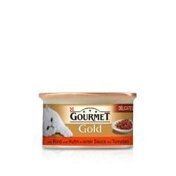 GOURMET GOLD 85g - Kawałki wołowiny z kurczakiem w sosie pomidorowym