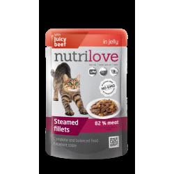 NutriLove 85g fileciki z wołowiną dla kotów