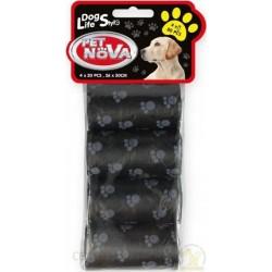 Woreczki na psie odchody - 4 rolki po 20 torebek czarne