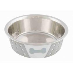 Miska ze stali nierdzewnej antypoślizgowa, 0.4 l/? 14 cm, biało/szara